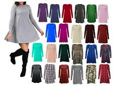 Womens Ladies Long Sleeve Swing Skater A Line Top Flared Swing Dress Sizes 8-26