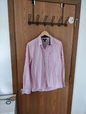 Kenneth Cole Reaction Mens Red White Striped Dress Shirt M