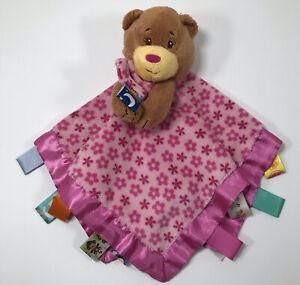Taggies Brown Bear Plush Pink Flower Lovey Security Blanket Satin Edge