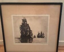 "Philip Little American 1857-1942 Pencil Signed Etching ""England and Spain"" 1927"