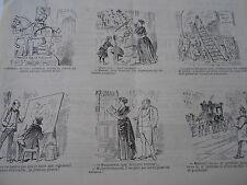 Caricature 19èm de 12 vignettes 1 sur La Statue de Jeanne D'Arc Old Print