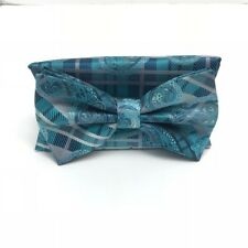 Stacy Adams Bow Tie & Hanky Set Turquoise Teal Silver Charcoal Microfiber Men's