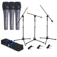 3 Sennheiser e835 Dynamic Cardioid Vocal Microphones w/ Stands & 18ft XLR Cables