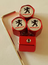 PEUGEOT ANTI THEFT DUST VALVE CAPS LIMITED ALL MODELS RETAIL PACKED GIFT 3008