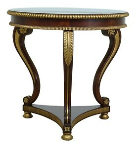 L49412EC: Regency Style Round Mahogany & Gold Occasional Table