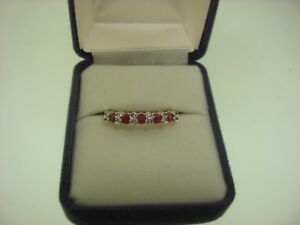 BEAUTIFUL NEW 14K SOLID GOLD APPROX. 1/2 CTW RUBY & DIAMOND BAND RING! SZ 9