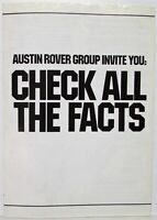 1981-1984 Austin Rover Group Invites You to Check All the Facts Sales Brochure