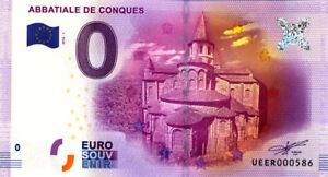12 CONQUES Abbatiale, 2016, Billet Euro Souvenir