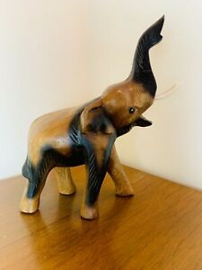 Hand Carved Wooden Elephant Trunk Up Fair Trade Various Sizes Hand Carved