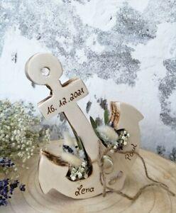Vintagelook Hochzeit Ringkissen Ringhalter Holz Anker geflammt mit Namen