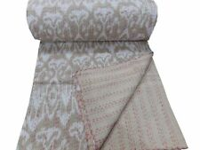 Beige Handmade Vintage Kantha Quilt Bed Cover Throw Cotton Bedspread Ikat Print