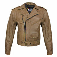 Men's Classic Retro Soft Distressed Brown Premium Leather Motorcycle Jacket