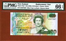 New Zealand 1992 Replacement $20 Prefix ZZ Pick-179a GEM UNC PMG 66 EPQ