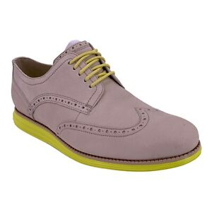 NEW Cole Haan Beige and Neon Yellow Suede Lunarlon Wingtip Oxford Shoes 9.5 Wide