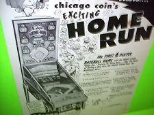Chicago Coin 6 PLAYER HOME RUN Original 1954 Pitch & Bat  Pinball Arcade Flyer