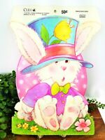 Vintage CLEO Die Cut Bunny In Suit & Eggs Easter Wall Window Decor Unpunched NOS