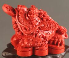 Chinese cinnabar red jade hand-carved dragon 金蟾 statue pendant 2 inch