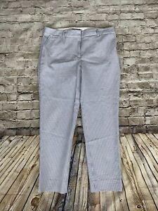 Talbots Seersucker Pinstripe Pant Size 12 Stretch High Rise Preppy