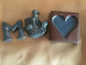 NOS 3 PIECES OF BUCKS COUNTY, PA. 1990's MORAVIAN GLAZED CLAY POTTERY TILES