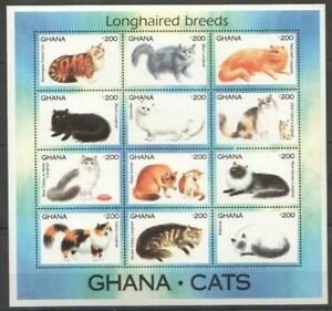 [GAN] GHANA 1994 CATS, DOMESTIC ANIMALS SHEET OF 12 STAMPS.