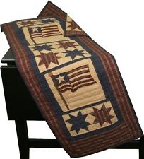 """AMERICANA AMERICAN FLAG EIGHT POINT STARS QUILT TABLE RUNNER 16X50"""" RED/BLUE/TAN"""