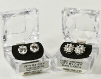 Striking CBC City By City EARRINGS Cubic Zirconia - TWO PAIR - NEW IN BOX