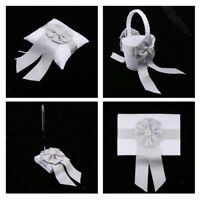 Wedding Satin Bowknot Flower Basket Ring Pillow Guest Book and Pen Set