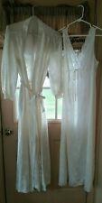 Vintage 2 Pc. Set Long Ivory Liquid Lorraine Nightgown & Robe size Medium