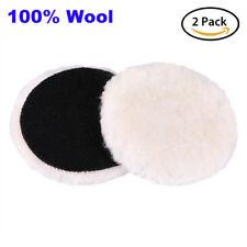 2PCS 5/6/7'' inch Wool Buffing Bonnet Pad Car Polishing Buffer Hook Loop Strap