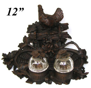 """Antique Black Forest Carved 12"""" Double Inkwell, Rare Pastoral Cock or Rooster"""