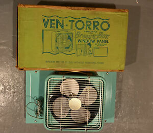 Vintage Ven-Torro Breeze Box Window Fan & Panel! 2 Speed, Aqua, Original Box