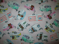 RETRO TRAILER VINTAGE CAMPERS PINK TRAILERS COTTON FABRIC BTHY