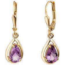 Boutons Tropfen 333 Gold Gelbgold 2 Amethyste lila violett Ohrringe Ohrhänger