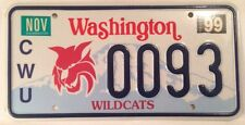 CENTRAL WASHINGTON University WILDCATS license plate CWU Wildcat low number #93