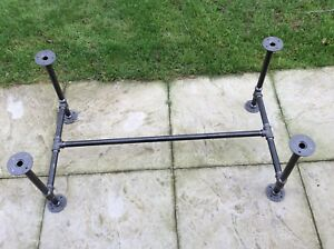 Table frame made from industrial galvanised iron in black
