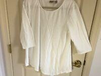 Woman's Chico's size 2 white asymmetrical 3/4 sleeve cotton blend top