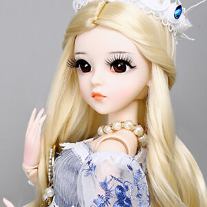 60cm BJD Doll 1/3 Ball Jointed Girl Blonde Hair Clothes Shoes Outfits Full Set