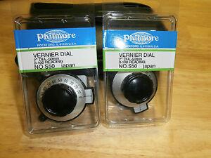 "Lot of 2,Vernier Dial Control Knob 2"" Dia. 0-100,Philmore S-50,New"