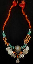 Morocco - Beautiful silver Berber necklace with Taguemout, genuine coral, amazon