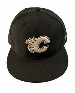 New Era 59fifty Calgary Flames NHL Fitted Black Wool Hat Cap 7 5/8