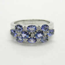 LADIES FASHION GENUINE TANZANITE RING WITH DIAMONDS IN 14K WHITE GOLD ret$2499
