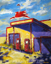 """'Flying Horse Gas' Mobil Vintage Service Station  16"""" x 20"""" Art Print- by Telfer"""