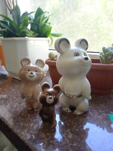 Bear MISHA mascot Olympic Games Moscow USSR 1980 8,13 ,21 cm 3 pieces