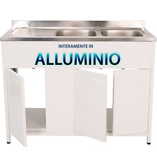 Mobile sottolavello per cucina, in ALLUMINIO, lavello IN ACCIAIO INOX. + SIFONE.