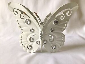 White Butterfly Hanging Single Candle Tea Light Small Chunky Candle Holder