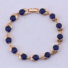 18ct Gold Dipped Blue Sapphire, White Topaz 7ct Tennis Bracelet Leaf nature  7""