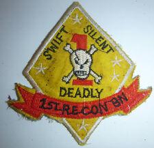Patch - SWIFT, SILENT, DEADLY, - 1st RECON BN - USMC, KHE SANH - Vietnam War - Y