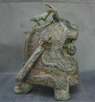 """14.4 """"Vieux Chine Bronze Ware Personnes Bête Zun Pot De Vin Portable pot à boire"""