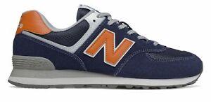 New Balance Men's 574 Shoes Navy with Orange