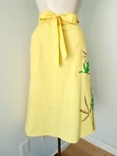 Vtg 70s Lemon Yellow Cotton Twill Happy Frogs Florida Wrap Skirt Pockets M
